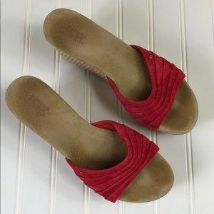 Ugg Australia Alvina Red Wedge Suede Sandals